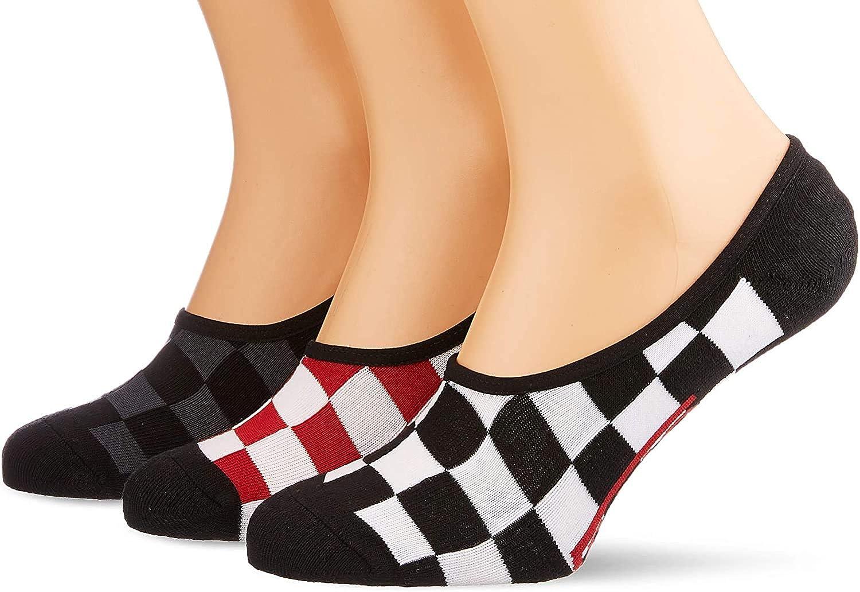 VANS - Men's, Classic Super No-Show Socks - Assorted 3 Pair Pack, (Black/White, Red/White, Black/Grey) LG/9.5-13