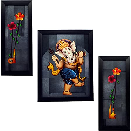 Indianara 3 PC Set of Lord Ganesha Paintings (1164) Without Glass 5.2 X 12.5, 9.5 X 12.5, 5.2 X 12.5 INCH