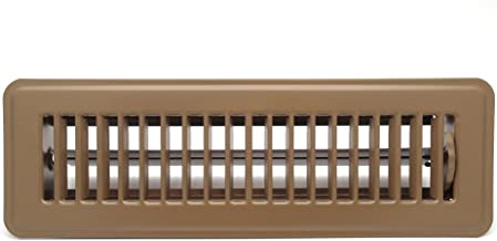 "4"" X 12"" Floor Register with Louvered Design - Heavy Duty Rigid Floor Air Supply with Damper & Lever - Brown"