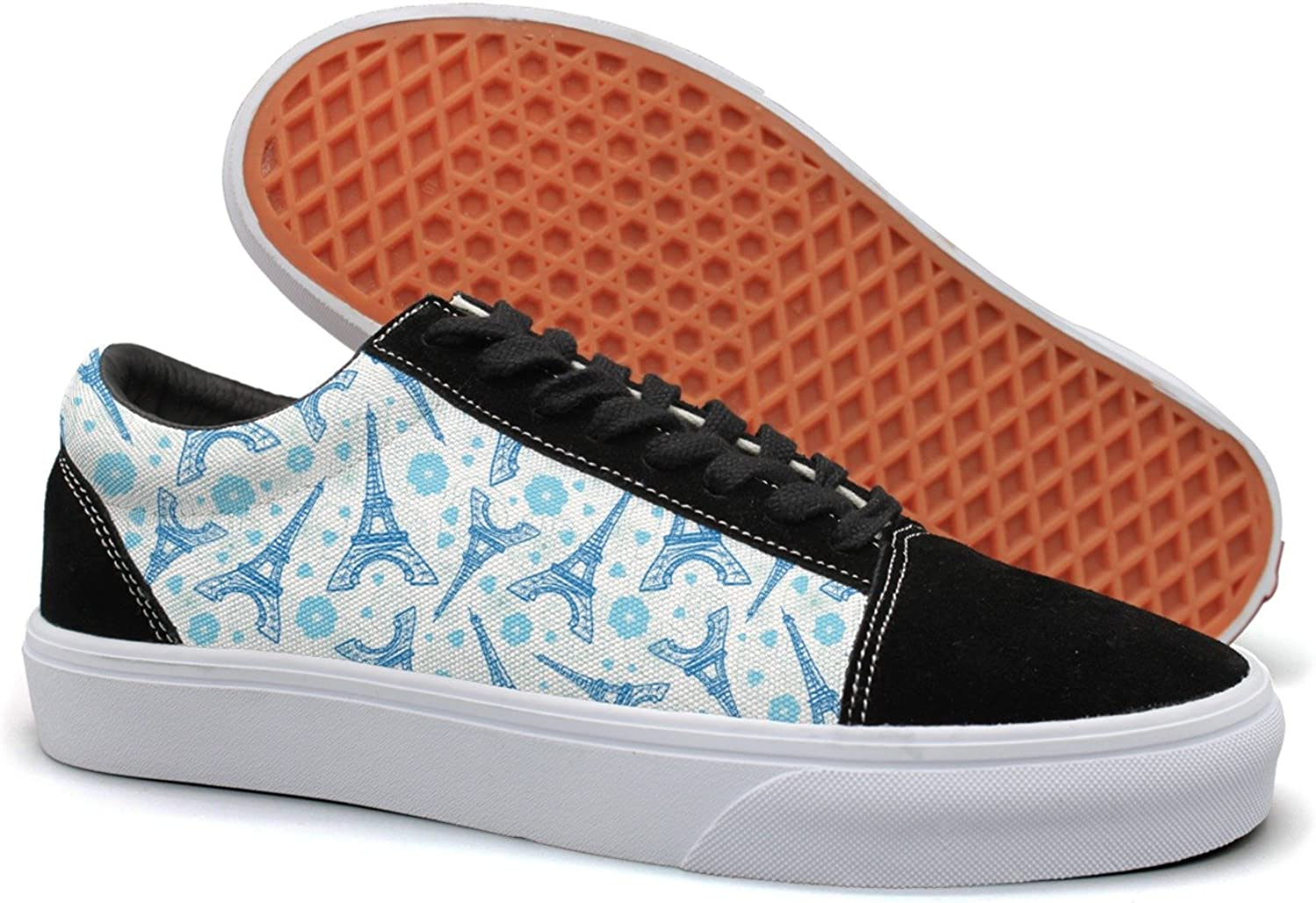 Feenfling bluee Eiffel Tower Paris and Daisy Plant Womens Flat Suede Canvas Low Top Sneakers shoes