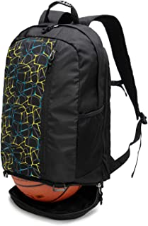 Lightweight Basketball Backpack, Sports and Gym Backpack with Ball Compartment and Attachable Shoe Bag