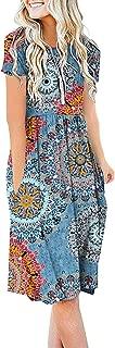 Women Summer Casual Short Sleeve Dresses Empire Waist Dress with Pockets