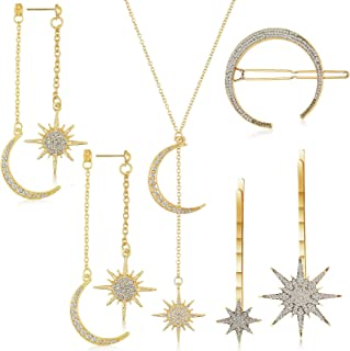 5 Pieces Moon Star Necklace Pendant Shiny Crystal Star Moon Gold Drop Earrings Rhinestone Hair Clips Jewelry Set for Women