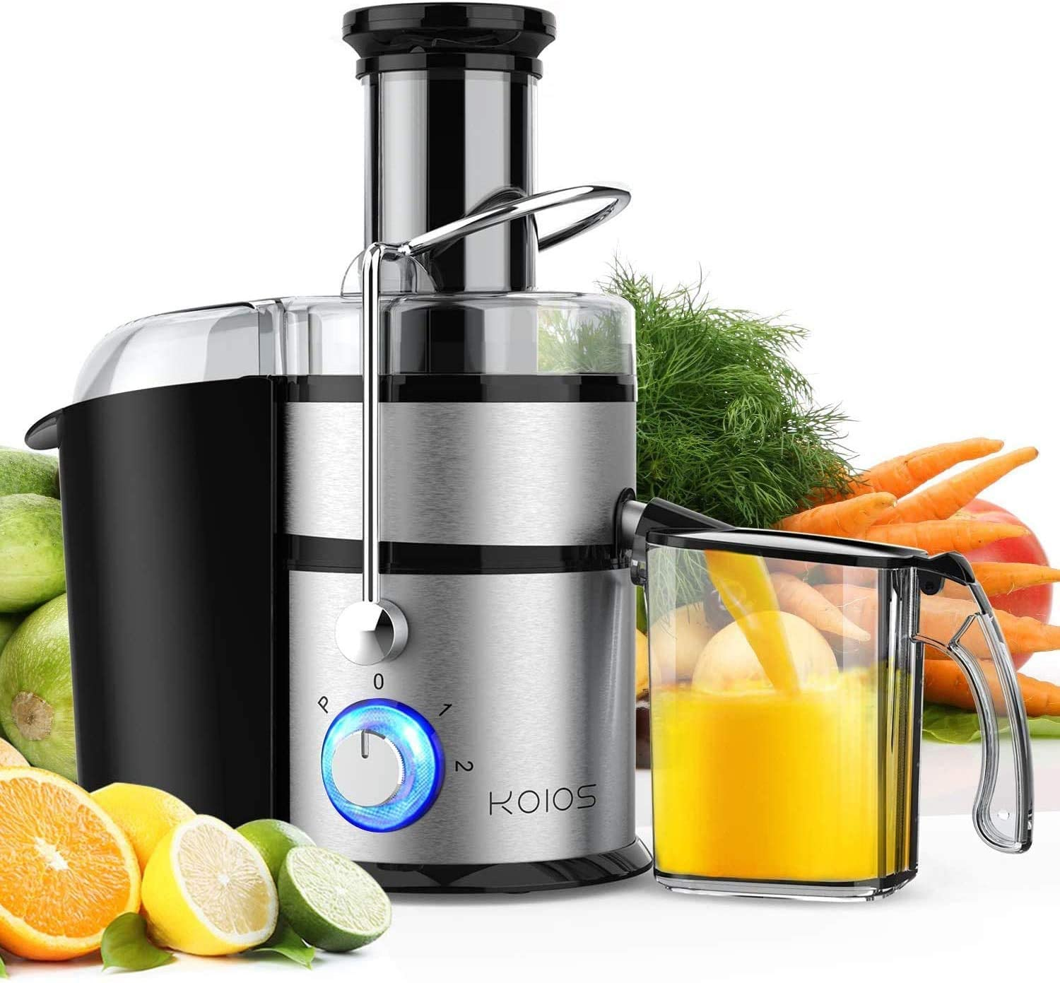 """KOIOS Centrifugal Juicer Machines, Juice Extractor with Big Mouth 3"""" Feed Chute, 304 Stainless-steel Fliter, Best Seller Juicer 2021, High Juice yield, Easy to Clean&100% BPA-Free, 1200W&Powerful, Dishwasher Safe, Included Brush"""