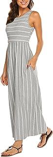 Hount Women's Summer Sleeveless Striped Flowy Casual Long Maxi Dress with Pockets