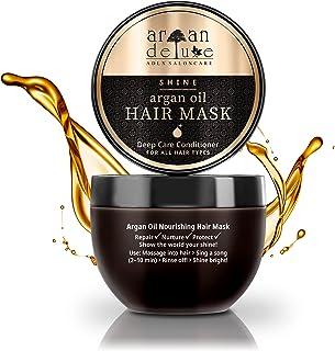 Argan Deluxe Haarmaske in Friseur-Qualität - Haarkur mit Arganöl zur intensiven Pflege - für Geschmeidigkeit & Glanz - Eff...