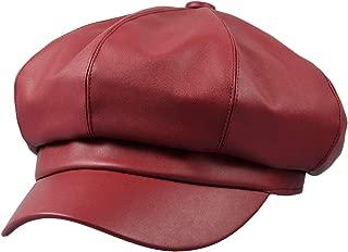 8 Panels Newsboy Caps for Women, PU Leather Cabbie Painter Hat Gatsby Ivy Beret Cap