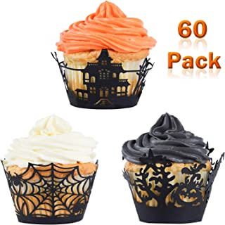 Whaline 60 Pack Halloween Cupcake Wrappers Spiderweb/Witch/Castle Laser Cut Paper Liners Holders for Party Birthday Decoration (Black)