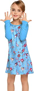Balasha Toddler Girls Dress Flower Printed Long Sleeve Casual Light Blue Size 6-7