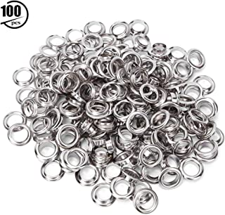 Healifty 100pcs 8mm Grommet Eyelets Kit with Buttonholes Installation Tool for Repair Replacement Shoes Clothing Leather Eyelets