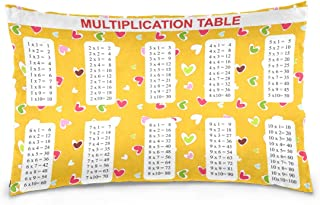 KGuanJi Multiplication Tables Yellow 20x30 inch Pillow Case Pillowslip Cushion Cover Pillowcases Protectors Slip Bed