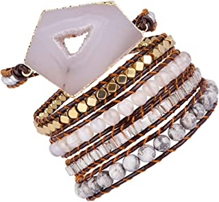 TUMBEELLUWA Wrap Bracelets Crystal Beaded Bohemian Style Leather Woven Healing Stone Jewelry for Women