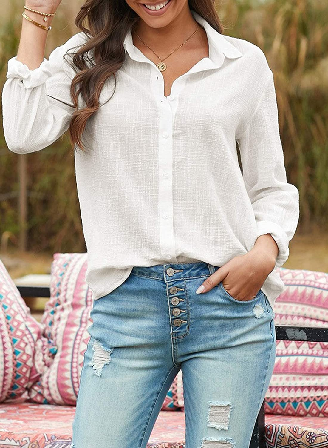 Women's Button Down Blouse Shirts Roll up Sleeve Solid Color Casual Work Tops