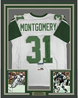 Signed Wilbert Montgomery Jersey - FRAMED 33x42 Insc White COA - PSA/DNA Certified - Autographed NFL Jerseys