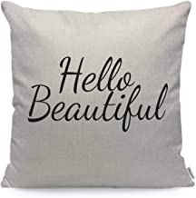 WONDERTIFY Pillow Cover Hello Beatiful Quote Letter - Soft Linen Pillow Case for Decorative Bedroom/Livingroom/Sofa/Farm H...