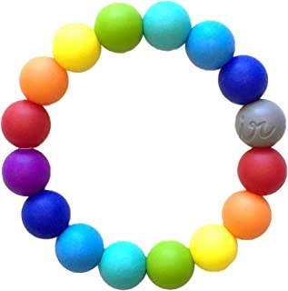 Itzy Ritzy Teething Happens Silicone Bracelet, Rainbow