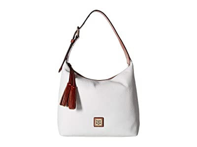 Dooney & Bourke Pebble Paige Sac (White/Tan Trim) Handbags