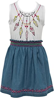 Zeyland 5-12 Years Girls' Stylish Cotton Summer T-Shirt Dress | Native American Feather Themed