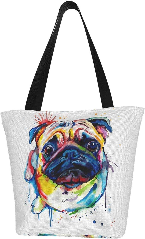 Colorful Cute Pet Pug Dog Animal Themed Printed Women Canvas Handbag Zipper Shoulder Bag Work Booksbag Tote Purse Leisure Hobo Bag For Shopping
