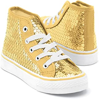 Sneakers Girls Shoes for Dance with Sequins High Top Womens Lace Up Shoes