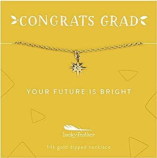 "Lucky Feather ""Congrats Grad Graduation Gift Necklaces"