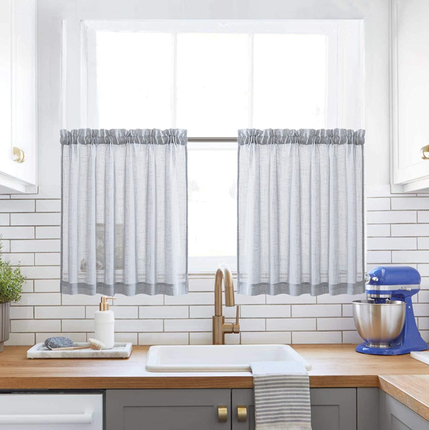 Grey Kitchen Tier Curtains Rod Pocket Privacy Challenge the lowest price of Japan Linen Challenge the lowest price of Japan Semi Sh Like