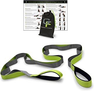Gradient Fitness Stretching Strap,  Premium Quality Multi-Loop Strap,  Neoprene Padded Handles,  12 Loops,  1.5 W x 8' L