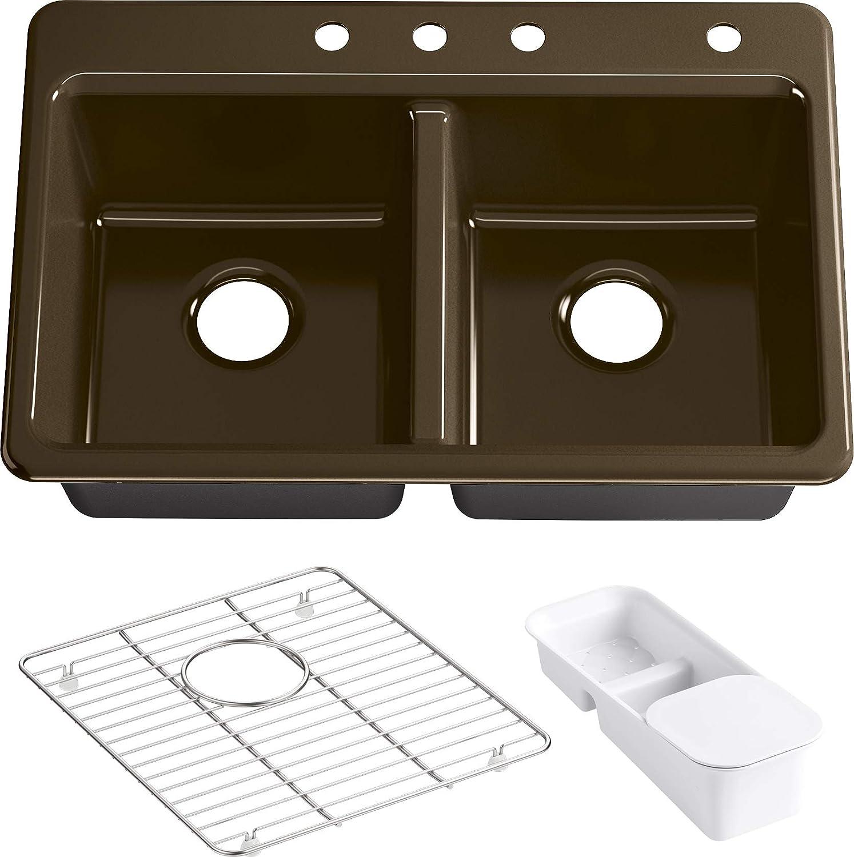 Kohler K-8679-4A2-KA Riverby Kitchen 'n Oklahoma City Mall Cash special price Sink Black Tan