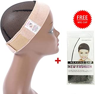 Flexible Wig Grip Band Velvet Wig Comfort Bands Elastic Wig Headband Adjustable Hook and Loop Fastener Wig Hair Head Band for Women (Beige)