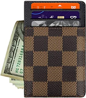 Dayke Slim Checkered Credit Card Holder - Minimalist Front Pocket Wallet for Men & Women