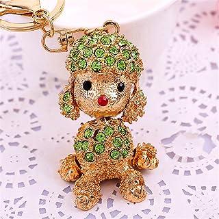 Axmerd Cute Rhinestone Poodle Puppy Keychain Bling Bling Diamond Crystal Dog Key Chains Ring Holder Purse Handbag Pendant Charm Gifts