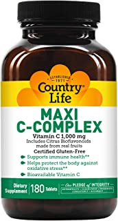 Sponsored Ad - Country Life Maxi C-Complex (Vitamin C 1000 Mg Bioflavonoids) (tr), 180-Count