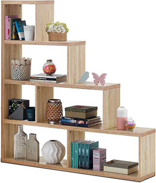 Tangkula 4 Shelf Ladder Corner Bookshelf Modern Simple Style Storage Bookcase 61 L X 11 W X 64 H 4 Layer Ample Storage Space For Home Furniture Wooden Storage Bookcase Natural