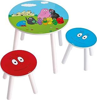 Worlds Apart 865251 Barbapapa Table et 2 Tabourets MDF Bleu 50 x 50 x 44 cm
