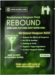 Rebound Hangover Cure Patch 30 Patches - Made in the USA - Organic Vegan, Sugar, Latex, Gluten