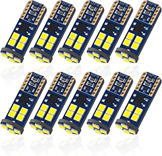 Pack of 10 T10 194 168 LED Bulb with 12-SMD 2835 Chipsets, 6000K White LED Bulbs, Canbus Ready Error Free for license Plate Parking Dome Map Trunk Cargo Courtesy Mirror Reading Indicator Light etc