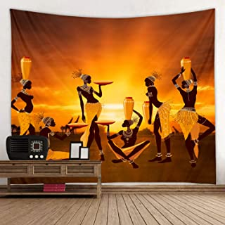 African Tribal Woman Orange Print Fabric Tapestry Decor Wall Art Tablecloths Bedspread Picnic Blanket Beach Throw Tapestries Colorful Bedroom Hall Dorm Living Room Hanging 79 x59 inches