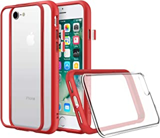 RhinoShield Modular Case for iPhone 8/7 [Mod NX] | Customizable Shock Absorbent Heavy Duty Protective Cover - Compatible w/Wireless Charging & Lenses - Shockproof Red Bumper w/Clear Back