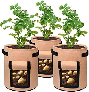 3 pcs Potato Grow Bag, 7 Gallon Aeration Waterproof Fabric Sweet Potato Planter, Vegetable Peanut Growing Box Bucket Pot f...