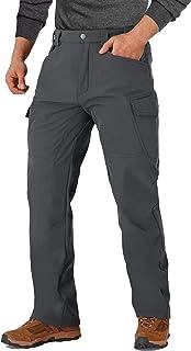 MAGCOMSEN Men's Winter Snow Pants 8 Pockets Softshell Water Resistant Fleece Lined Cargo Hiking Work Tactical Pants