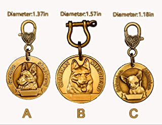 CHUKCHI Custom Engraved Brass Pet ID Tags-Engraved Personalized Embossed Copper Identification Durable & Long Lasting Dog Tags
