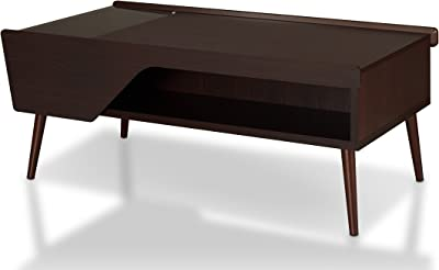 "Furniture of America Earnest Mid-Century Modern Coffee Table with Glass Lift-top Storage, Open Shelf and Angled Turned Legs, 47"", Espresso"