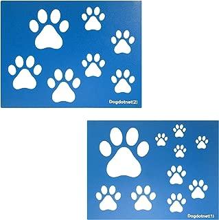Dogdotnet Dog Cat Paw Print Stencils, 2 Sheets per Pack Various Paw Print Sizes, 4