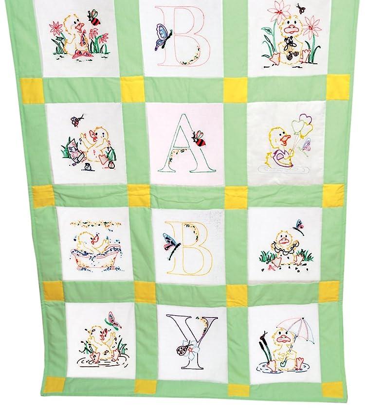 Fairway 92378 Baby Quilt Block, Duck Design, Twelve Blocks, White