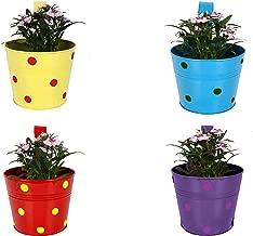 Gadgets Appliances Wonderful Colour Polka Dots, Railing Planter, Flower Pot, Wall Planter, Metal Planter, Balcony, Garden Planter Basket Multicolour (Set of 4)