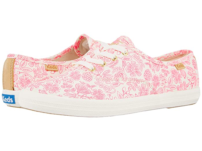 Keds   x Rifle Paper Co. Champion Moxie Floral (Neon Pink Printed Canvas) Womens Shoes