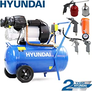 Hyundai HY3050V 3hp V-Twin Direct Drive Electric Air Compressor 14CFM  2200w  8bar  116psi  Litre Steel Tank  Blue  Includes Piece Air Tool Kit