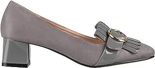 KRISP Women Ladies Low Block Heels Court Shoes Comfy Pumps Loafers Casual Work Office