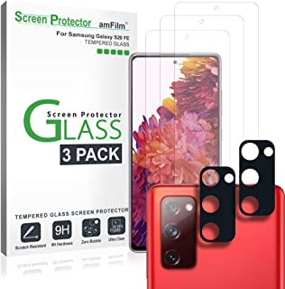 amFilm Galaxy S20 FE Screen Protector and Back Camera Lens Protector (3+2 Pack), Case Friendly (Easy Install) Tempered Gla...