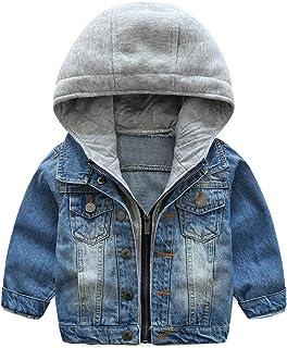 Odziezet Veste en Jean Manches Longue pour Enfants Manteau Automne d'hiver pour Enfant Coupe-Vent Veste (1-7 Ans)